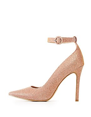 Glitter Ankle Strap Pointed Toe Pumps