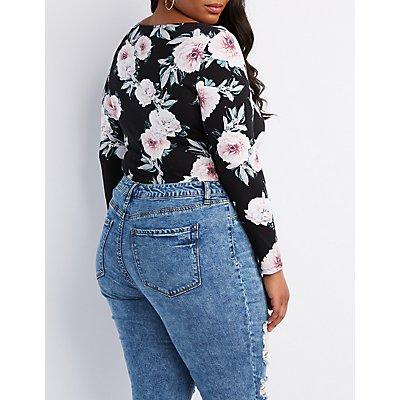 Plus Size Floral Cut-Out Bodysuit