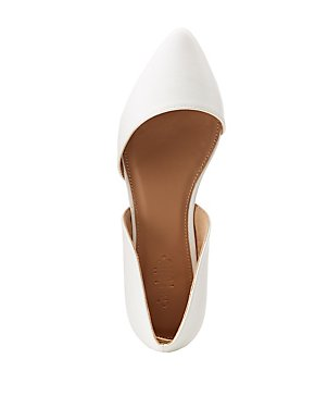Faux Leather Pointed Toe D'Orsay Flats