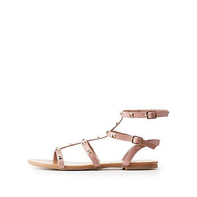 Studded Caged Ankle Strap Sandals