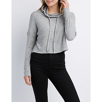 Ribbed Hacci Knit Hoodie