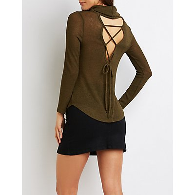 Cowl Neck Lace-Up Back Top