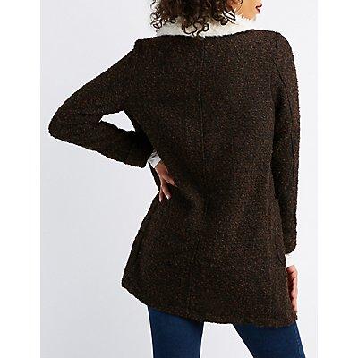 Shaggy Faux Fur Collar Longline Coat