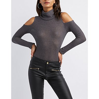 Ribbed Cold Shoulder Turtle Neck Pullover