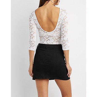 Open-Back Lace Bodysuit