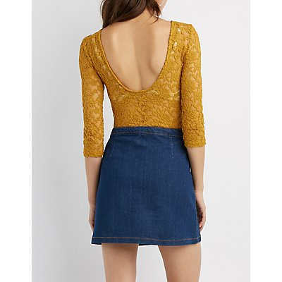 Open-Back Lace Bodysuit