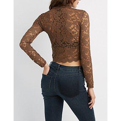 Lace Mock Neck Crop Top