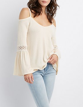 Crochet Detailed Cold-Shoulder Waffle Knit Top