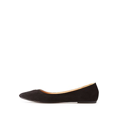 Qupid Faux Suede Pointed Toe Ballet Flats