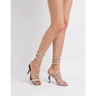 Rhinestone Coil Wrap Sandals