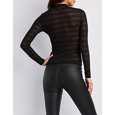 Mesh Striped Mock Neck Top