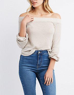 Balloon Sleeve Off-The-Shoulder Sweater