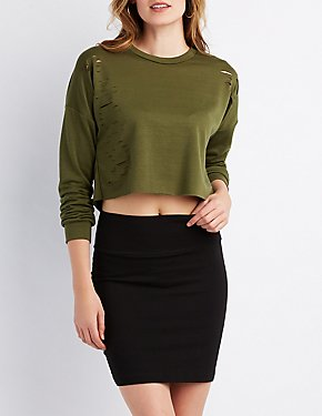 Destroyed Cropped Pullover Sweatshirt