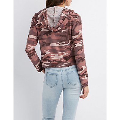Camo Cropped Drawstring Hoodie