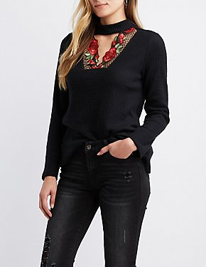 Floral Embroidered Choker Neck Top