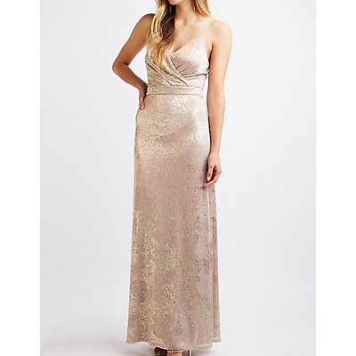 Metallic Surplice Maxi Dress