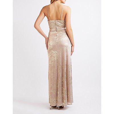 Metallic Surplice Maxi Dress