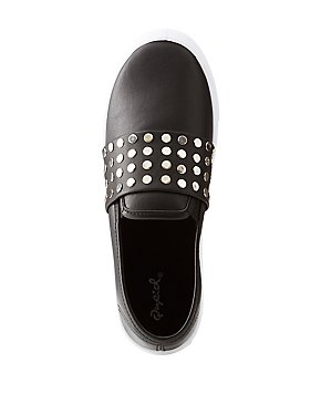 Qupid Studded Slip-On Sneakers