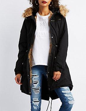 Faux Fur-Trim Longline Anorak Jacket