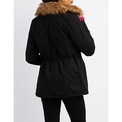 Faux Fur Collar Anorak Jacket