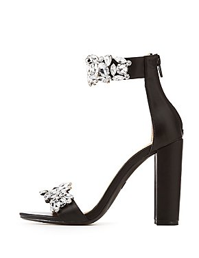 Faux Leather Embellished Two-Piece Dress Sandals