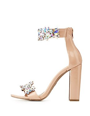 Patent Faux Leather Embellished Two-Piece Dress Sandals