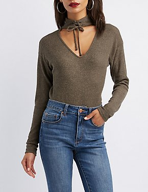 Cut-Out Lace-Up Detail Pullover Top