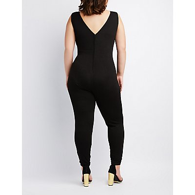 Plus Size Pleated Surplice Jumpsuit
