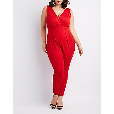 Plus Size Pleated Surplice Jumpsuit
