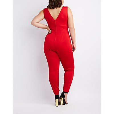 Plus Size Pleated V-Neck Jumpsuit