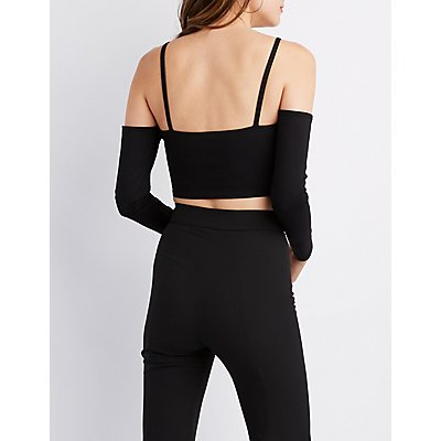 V-Neck  Off-The-Shoulder Crop Top