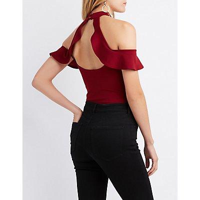 Ruffle-Trim Cold Shoulder Bodysuit