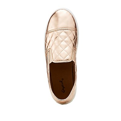 Qupid Quilted Metallic Slip-On Sneakers
