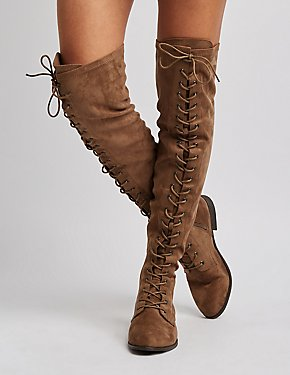 Faux Suede Lace-Up Over-The-Knee Combat Boots