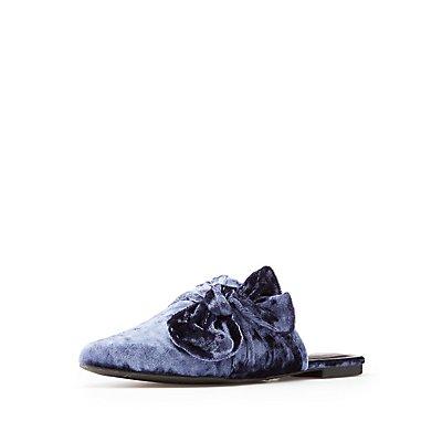 Velvet Bow Slip-On Flats