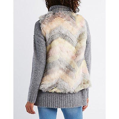Chevron Faux Fur Vest
