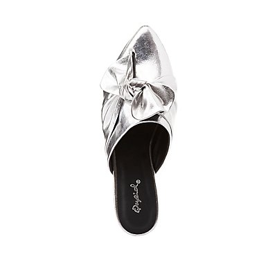 Qupid Metallic Knotted Slip-On Flats