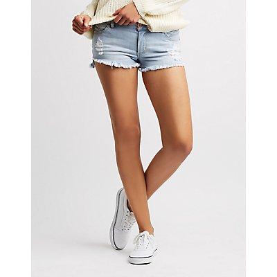 Mid-Rise Cut-Off Denim Shorts