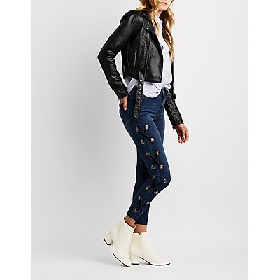 Lace-Up Detail Skinny Jeans