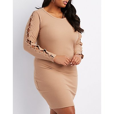 Plus Size Lace-Up Detail Ribbed Bodycon Dress