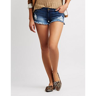 Mid-Rise Cut-Off Denim Shorts