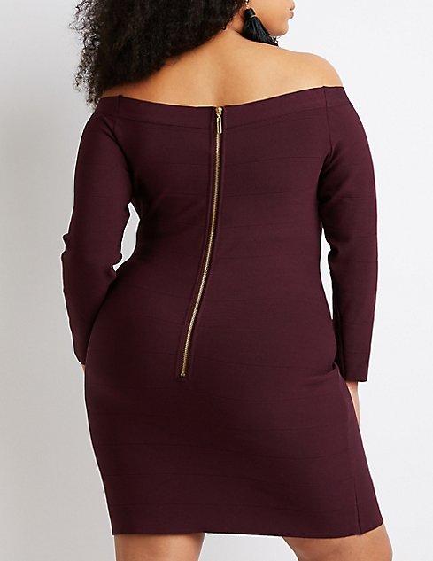 Plus Size Bandage Off-The-Shoulder Bodycon Dress | Charlotte ...