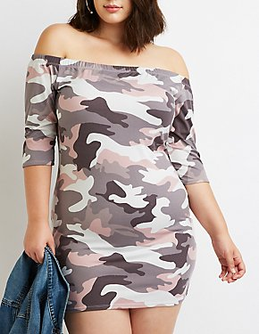 Plus Size Camo Off-The-Shoulder Bodycon Dress