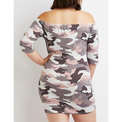 Plus Size Camo Off-The-Shoulder Bodycon Dress