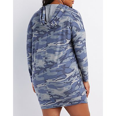 Plus Size Camo Print Hooded Sweatshirt Dress
