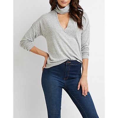Brushed Turtleneck Cut-Out Top