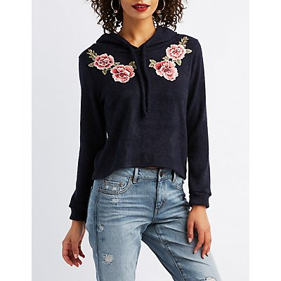 Floral Patch Hacci Drawstring Hoodie