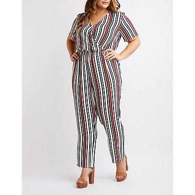 Plus Size Striped Wide Leg Jumpsuit