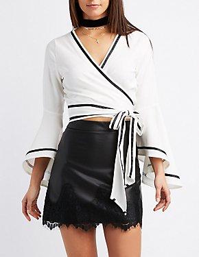 Wrap-Tie Bell Sleeve Crop Top