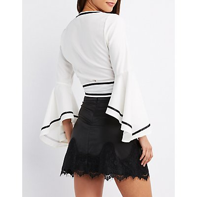 Wrap-Tie Bell Sleeve Crop Top